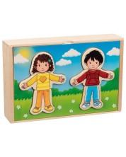 Дървен комплект Goki - Момче и момиче за обличане, в дървена кутия
