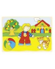 Дървен пъзел с дръжки Goki - Къща, коте, момче и топка