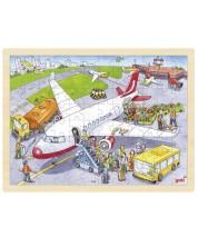 Дървен пъзел Goki - На летището