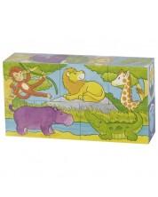 Дървени кубчета Goki - Сафари и Арктика, пет части