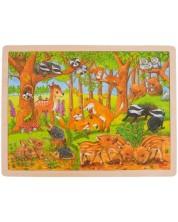 Дървен пъзел Goki - Бебета животни, в гората
