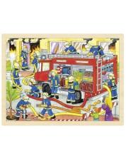Дървен пъзел Goki - Борба с пожара