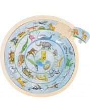 Дървен пъзел Goki - Животински кръг