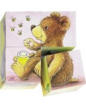 Дървени кубчета Goki - Бебета животни, четири части