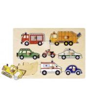 Дървен пъзел Goki - Превозни средства, граждански коли