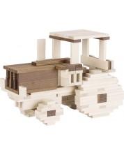 Дървен конструктор Goki, Nature - Тракторче, паяк, лодка