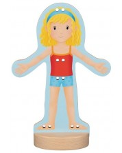 Дървена играчка Goki - Кукла за обличане