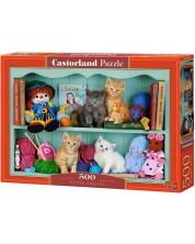 Пъзел Castorland от 500 части - Котки върху рафтовете