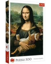 Пъзел Trefl от 500 части - Мона Лиза и мъркащо коте