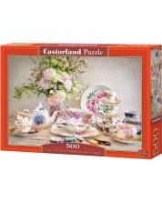 Пъзел Castorland от 500 части - Натюрморт с порцелан и цветя -1