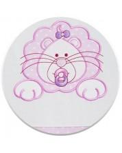 Спален комплект от 3 части за бебешко креватче EKO - Лъвче, розов на бели точки -1