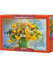 Пъзел Castorland от 1000 части - Пролетни цветя в зелена ваза -1