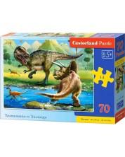 Пъзел Castorland от 70 части - Тиранозавър срещу Трицераптос