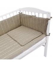 Плетен спален комплект от 4 части за бебешко креватче EKO - Бежов -1