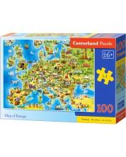 Пъзел Castorland от 100 части - Карта на Европа
