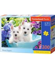 Пъзел Castorland от 200 части - Кученца бели териери Уести