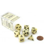 Комплект зарове Chessex Opaque Poly 7 - Ivory & Black (7 бр.) -1