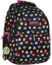 Ученическа раница BackUP N5 - Colorful Strawberries, с 3 отделения + подарък
