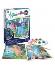 Комплект за оцветяване с акварелни бои Sentosphere Aquarellum Phospho - Еднорози