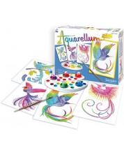 Комплект за оцветяване с акварелни бои Sentosphere Aquarellum Junior - Райски птици