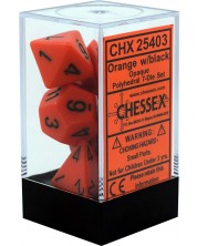 Комплект зарове Chessex Opaque Poly 7 - Orange & Black (7 бр.) -1