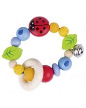 Бебешка дрънкалка Heimess Soft Colors - Калинка, еластична -1