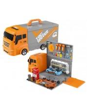 Игрален комплект 2 в 1 Bowa - Камион-куфар, Автосервиз, 36 части