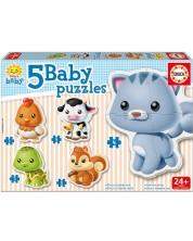 Бебешки пъзел Educa 5 в 1 - Бебета животни -1