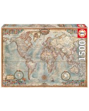Пъзел Educa от 1500 части - Политическа карта на света