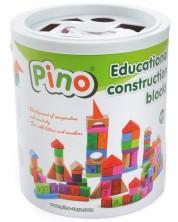 Дървен конструктор в кофа Pino - С капак сортер, 100 части -1