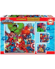 Пъзел Educa 4 в 1 - Приключенията на супергероите -1