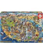 Пъзел Educa от 500 части - Карта на Ню Йорк, Мария Рабинки