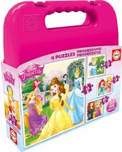 Пъзел в куфарче Educa 4 в 1 - Дисни принцеси -1