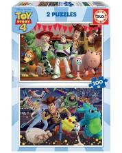 Пъзел Educa от 2 x 100 части - Играта на играчките 4 -1