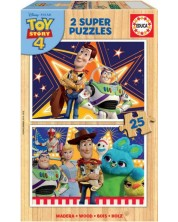 Пъзел Educa от 2 x 25 части - Уди и приятели, Играта на играчките 4