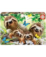 Пъзел Educa от 500 части - Семейство ленивци