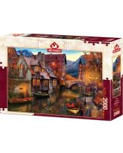 Пъзел Art Puzzle от 2000 части - Домове по канала, Дейвид М.