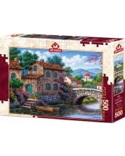 Пъзел Art Puzzle от 500 части - Канал сред цветя, Артуро Зарага