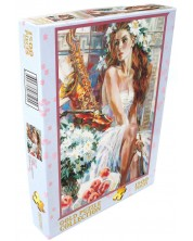 Пъзел Gold Puzzle от 1500 части - Момиче с праскови и саксофон -1