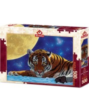 Пъзел Art Puzzle от 500 части - Тигър на лунна светлина