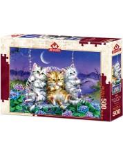 Пъзел Art Puzzle от 500 части - Котки на люлка под луната, Кайоми Харай