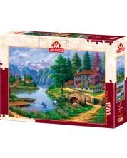 Пъзел Art Puzzle от 1500 части - Селце край езерото, Артуро Зарага