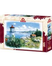 Пъзел Art Puzzle от 500 части - Фар на брега, Питър Моц