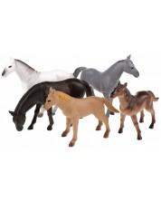 Комплект фигурки Toi Toys Animal World - Deluxe, Диви коне, 5 броя