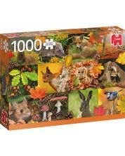 Пъзел Jumbo от 1000 части - Есенни животни -1