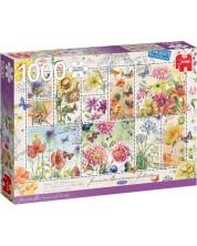 Пъзел Jumbo от 1000 части - Пощенски марки с летни цветя