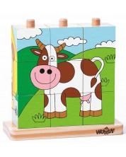 Низанка с дървени кубчета Woody - Домашни любимци, 9 части -1