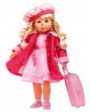 Пееща и говореща кукла Bayer - Мария, 46 cm, с куфарче и розово палто