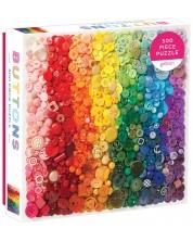 Пъзел Galison от 500 части - Копчета в цветовете на дъгата -1