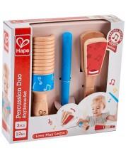 Комплект детски музикални инструменти Hape - Дървени перкуси -1